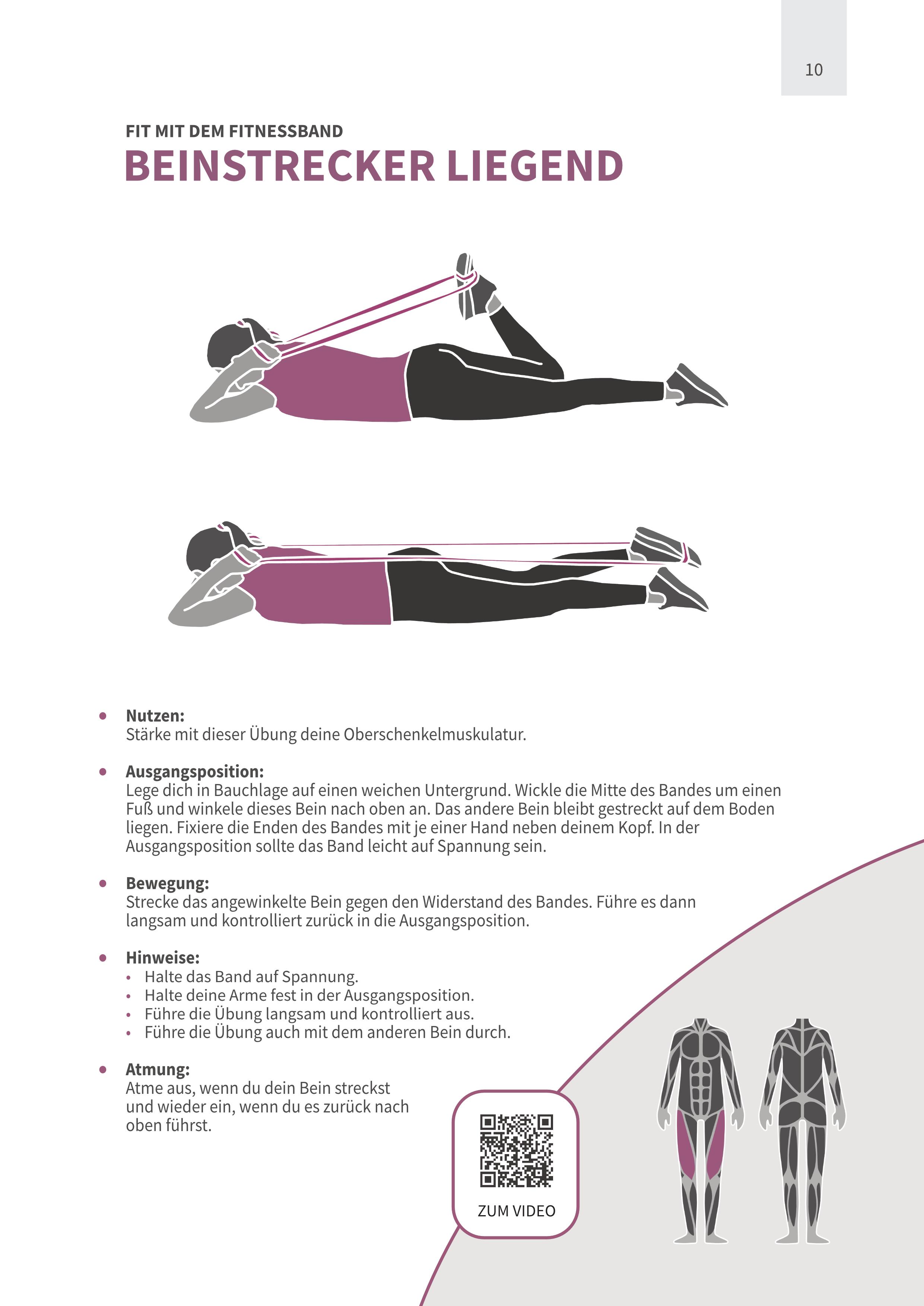 Beinstrecker Liegend mit Fitnessband