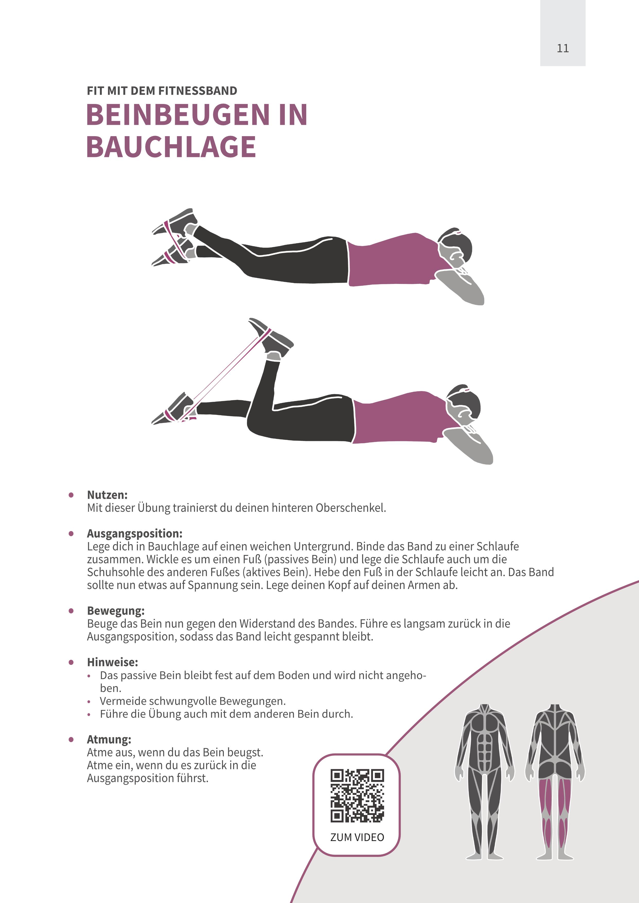 Beinbeugen in Bauchlage mit Fitnessband