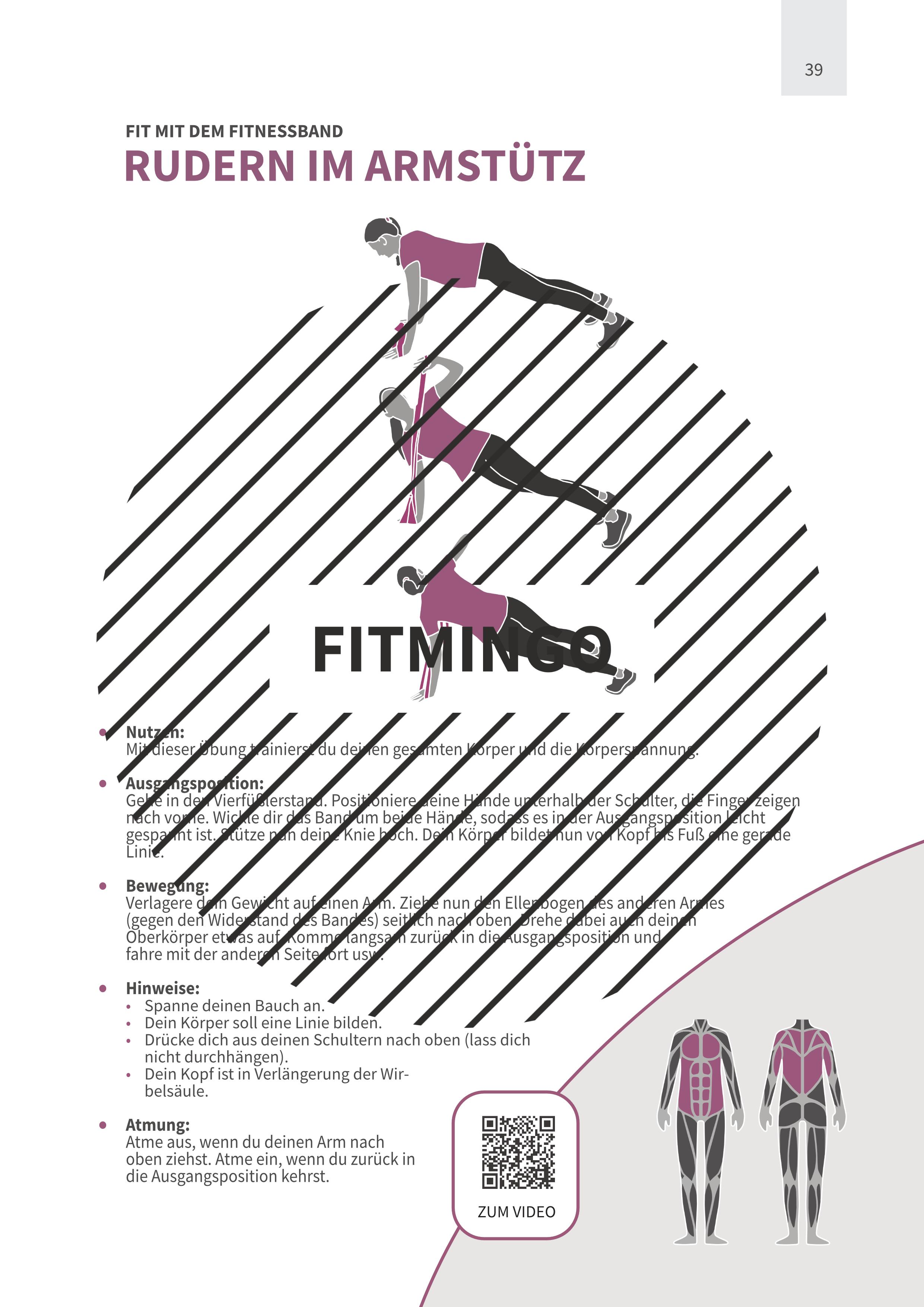 Rudern im Armstütz mit Fitnessband