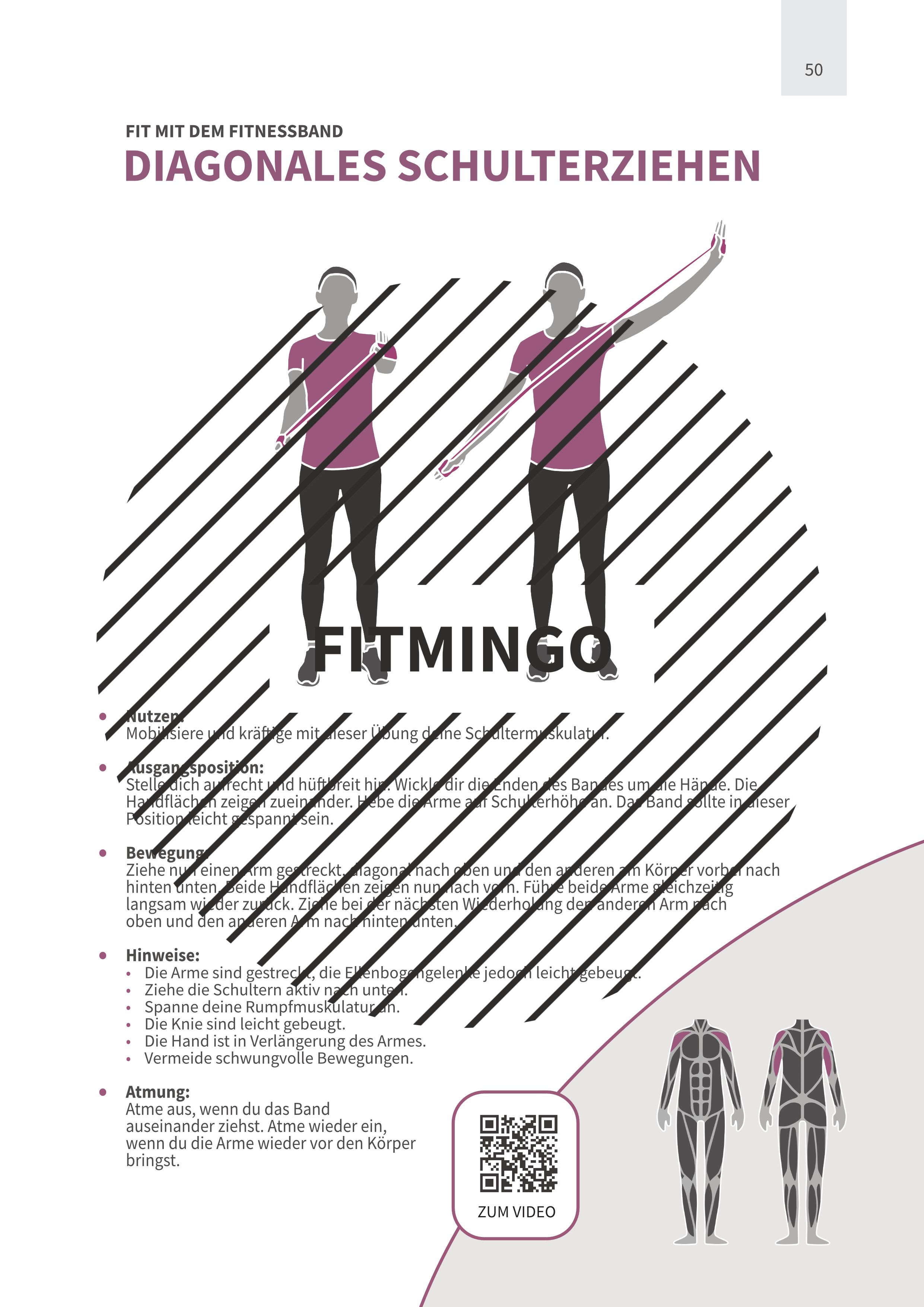 Diagonales Schulterziehen mit Fitnessband