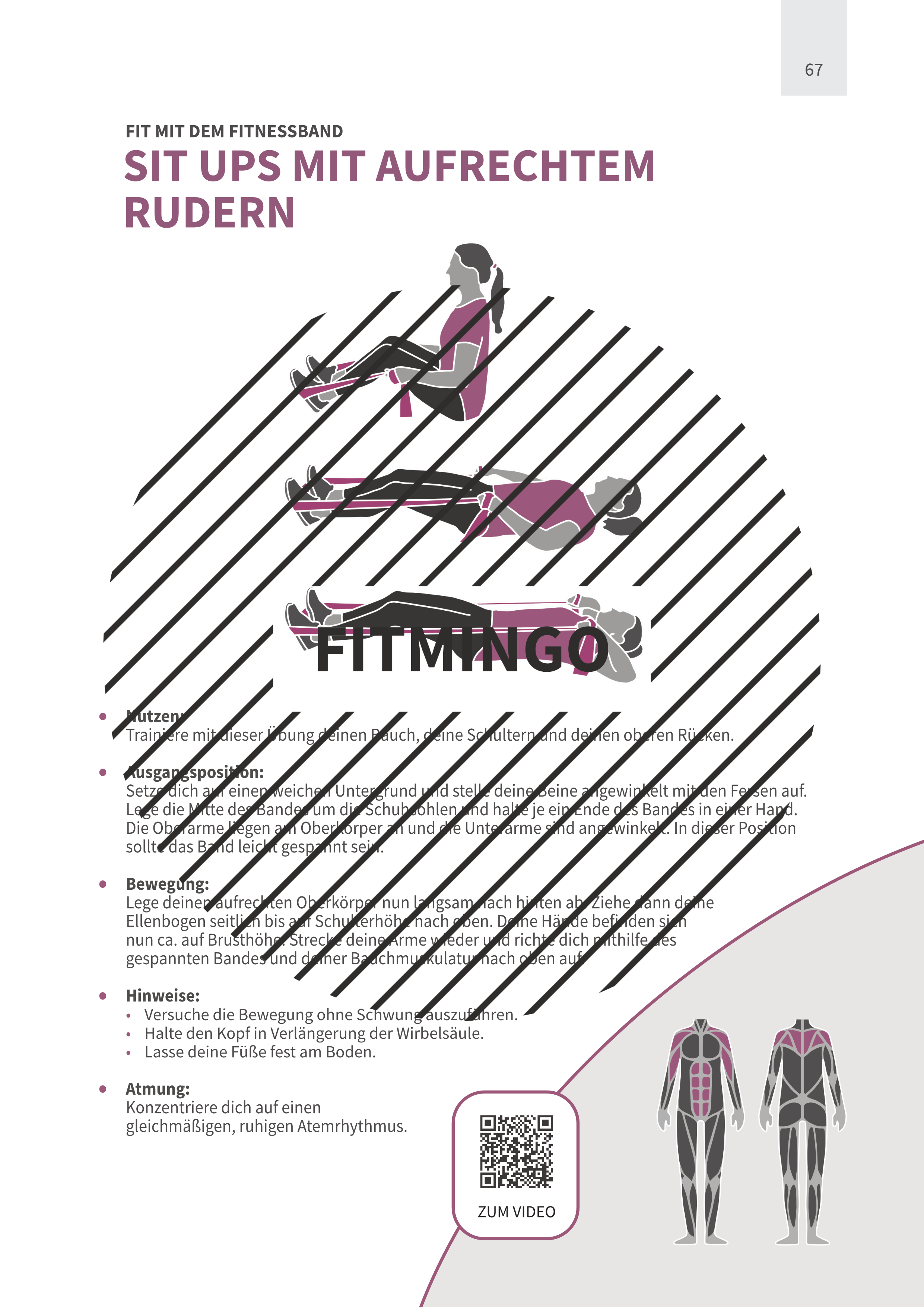 Sit Ups mit aufrechtem Rudern mit Fitnessband