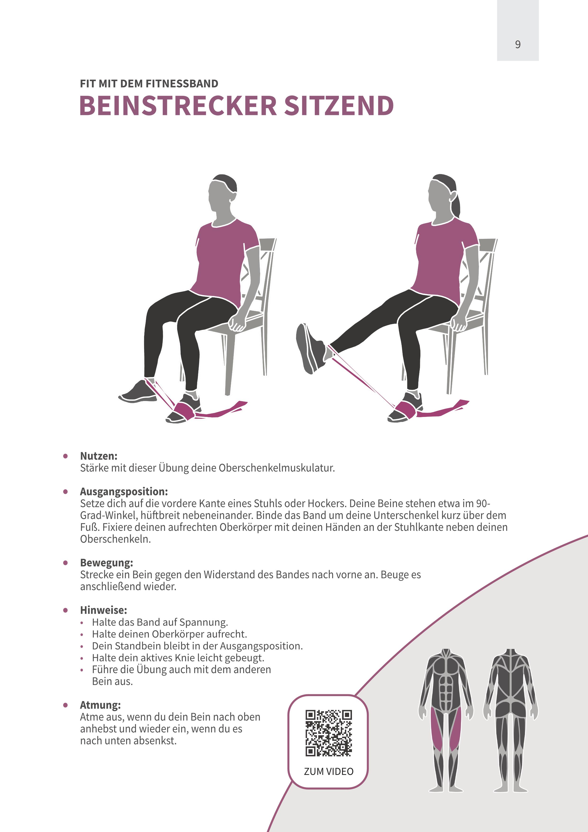 Beinstrecker sitzend mit Fitnessband
