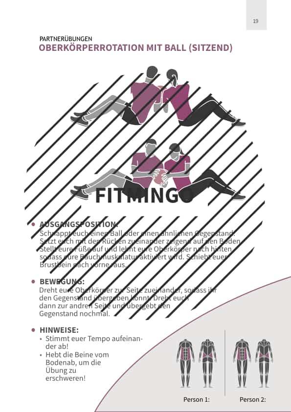 Oberkörperrotation mit Ball (sitzend)